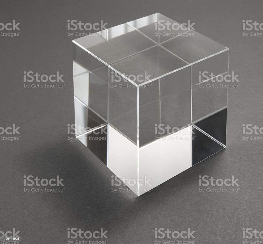 glass cube and reflections stock photo