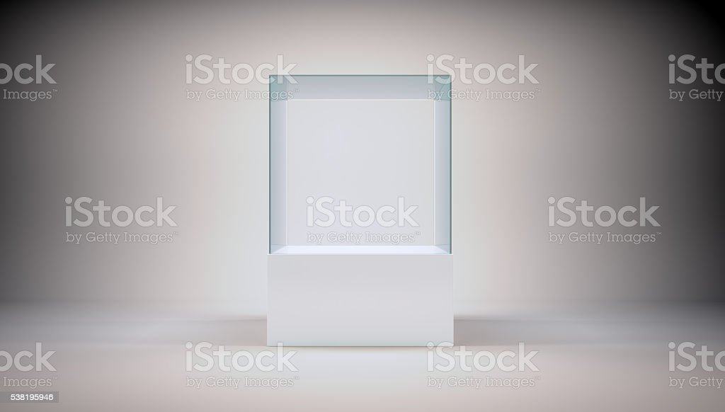Glass cube on grey stock photo