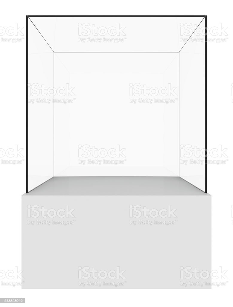 Glass cube on white stock photo