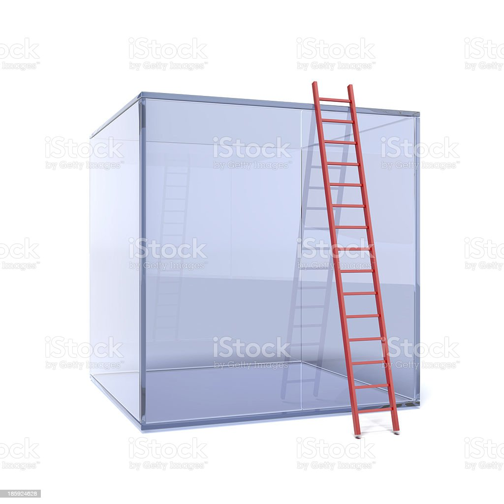 glass cube with red ladder stock photo
