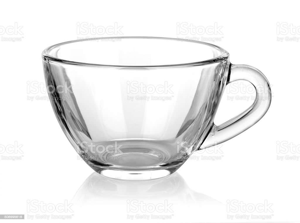Glass cup isolated on white stock photo