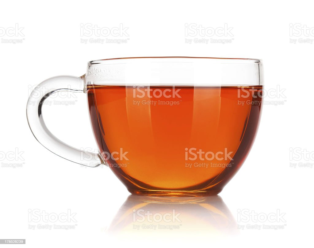Glass cup of black tea stock photo