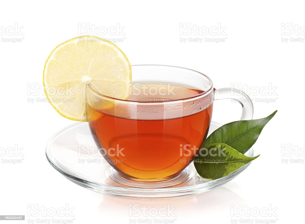 Glass cup of black tea with lemon slice royalty-free stock photo