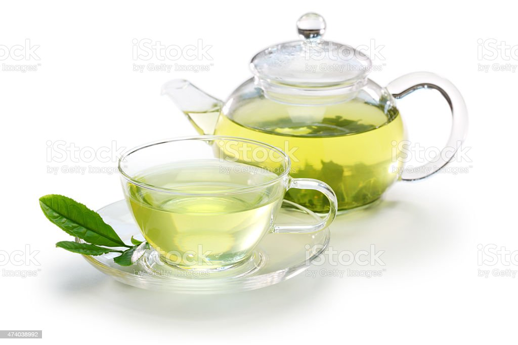 glass cup of Japanese green tea stock photo