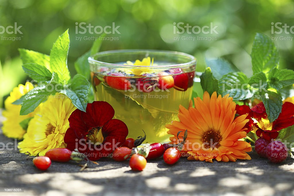 Glass cup with herbal tea and rosehip stock photo