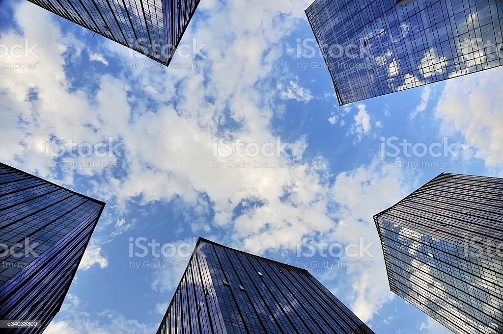 glass curtain wall buildings in the city stock photo