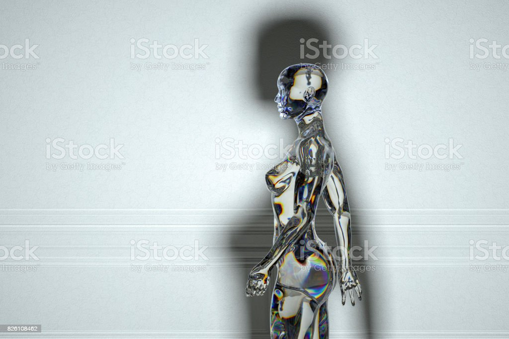 Glass cyborg walking in old room stock photo