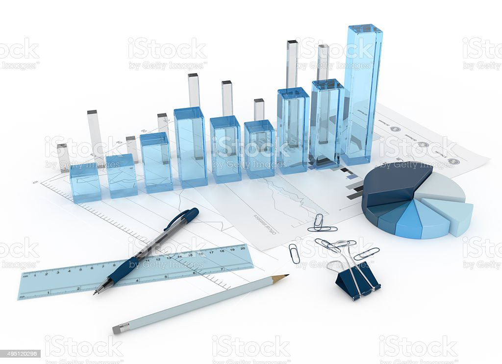 3D glass diagram with charts and objects stock photo