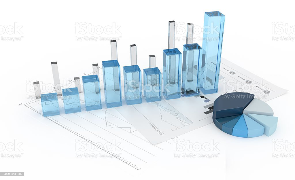 3D glass diagram with charts stock photo