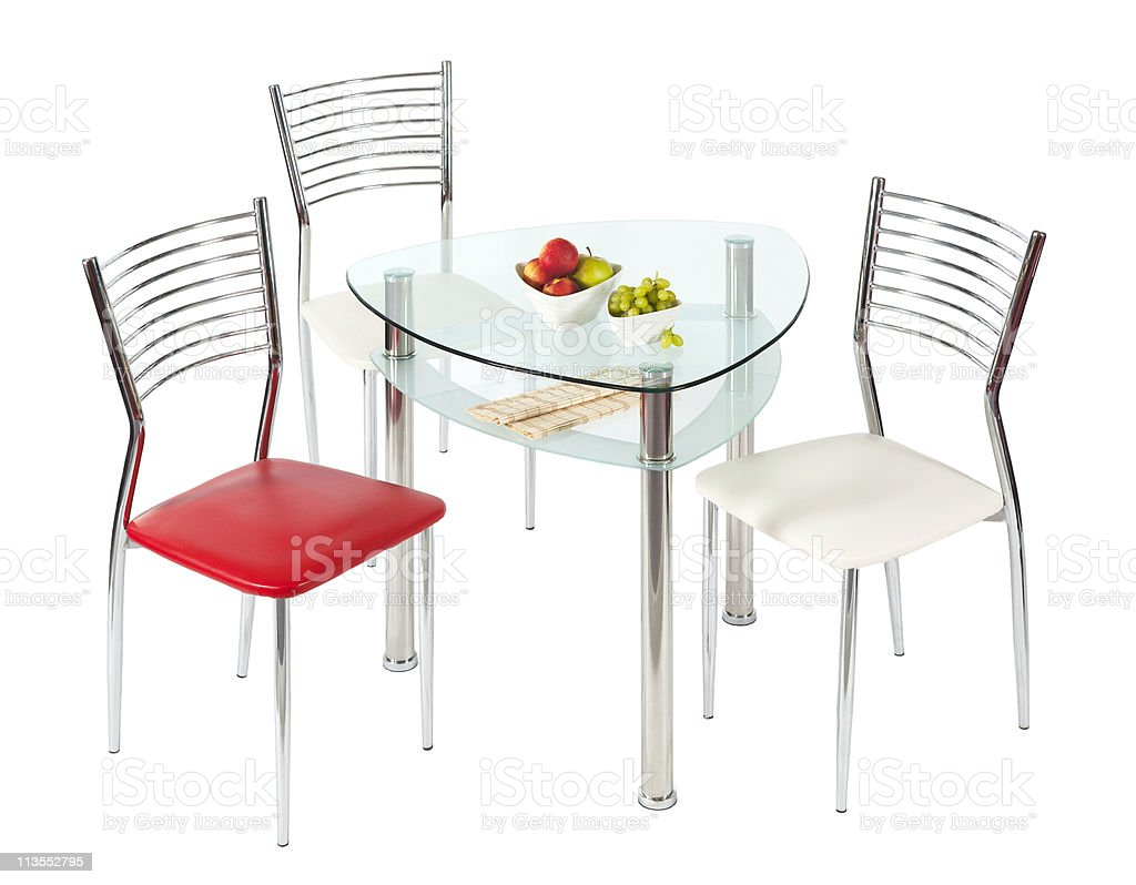 Glass dining table and chairs royalty-free stock photo