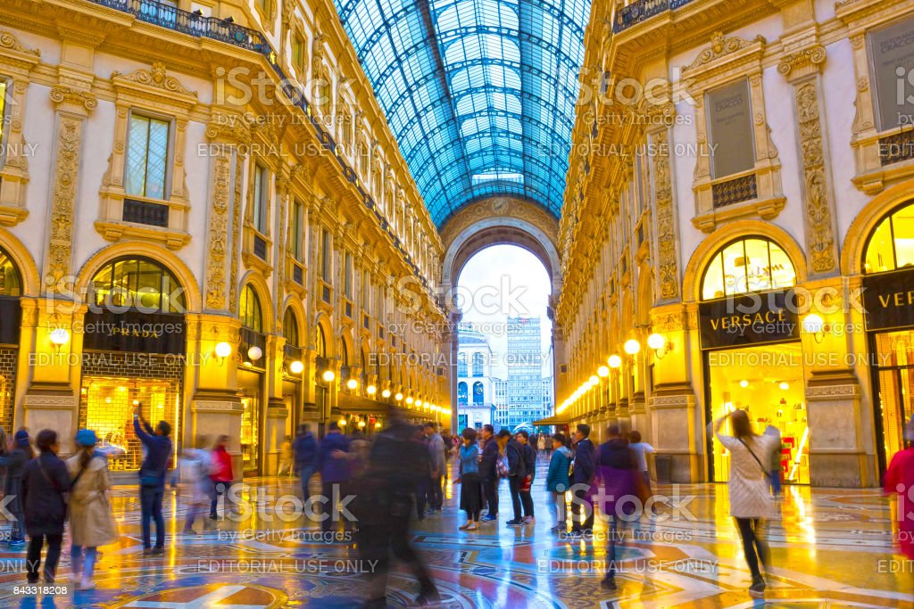 Glass dome of Galleria Vittorio Emanuele in Milan, Italy stock photo