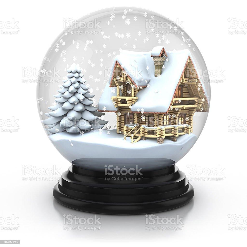 glass dome winter scene stock photo