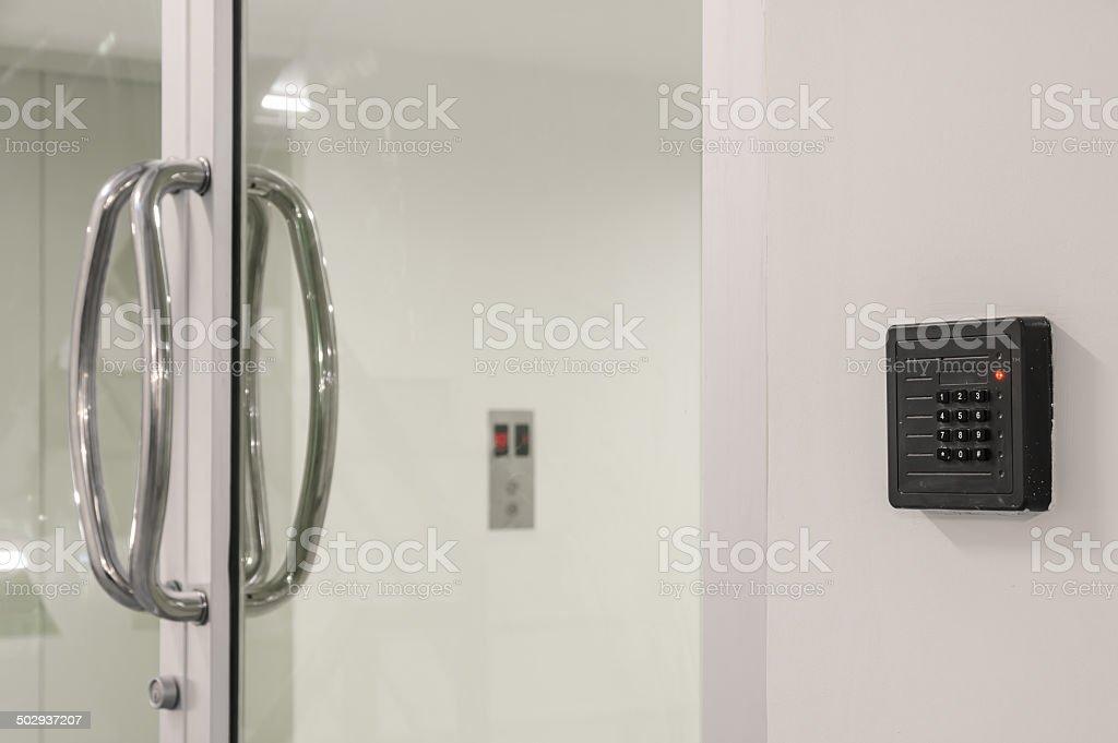 Glass door control stock photo