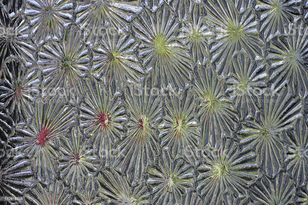 Floral star shaped pattern moulded in glass door panel stock photo