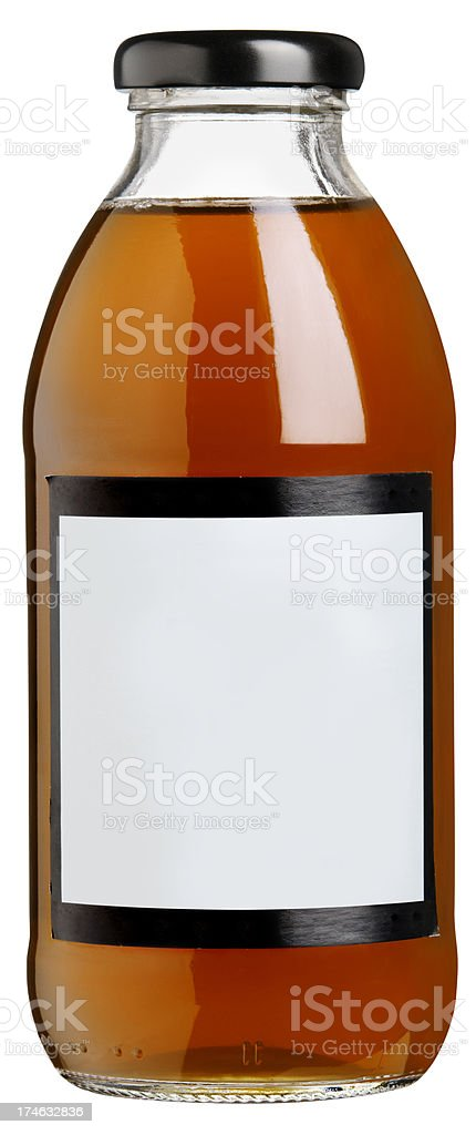 Glass Drink bottle with blank label. Isolated stock photo