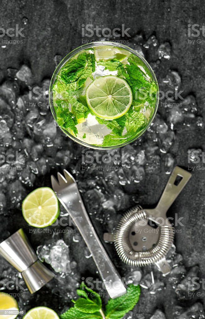 Glass drink lime mint ice. Tonik water, cocktail, mojito stock photo