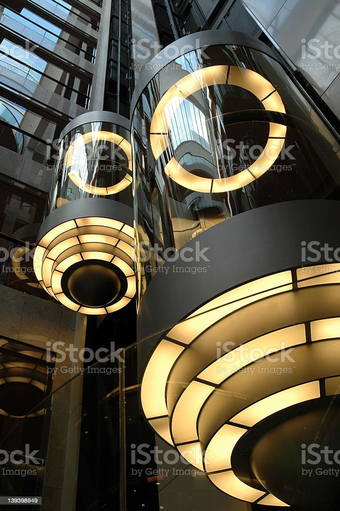 Glass elevator stock photo