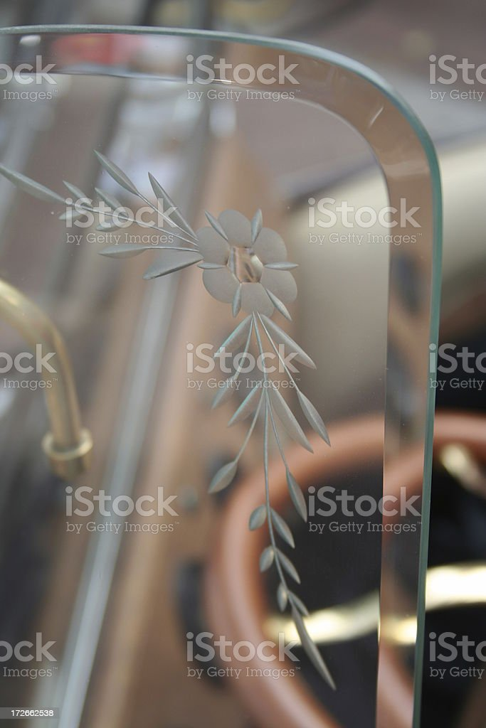 Glass Etching Detail On an Old Car royalty-free stock photo