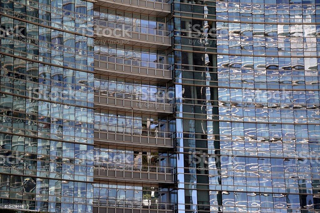 Glass facade reflections in Milano, Italy stock photo