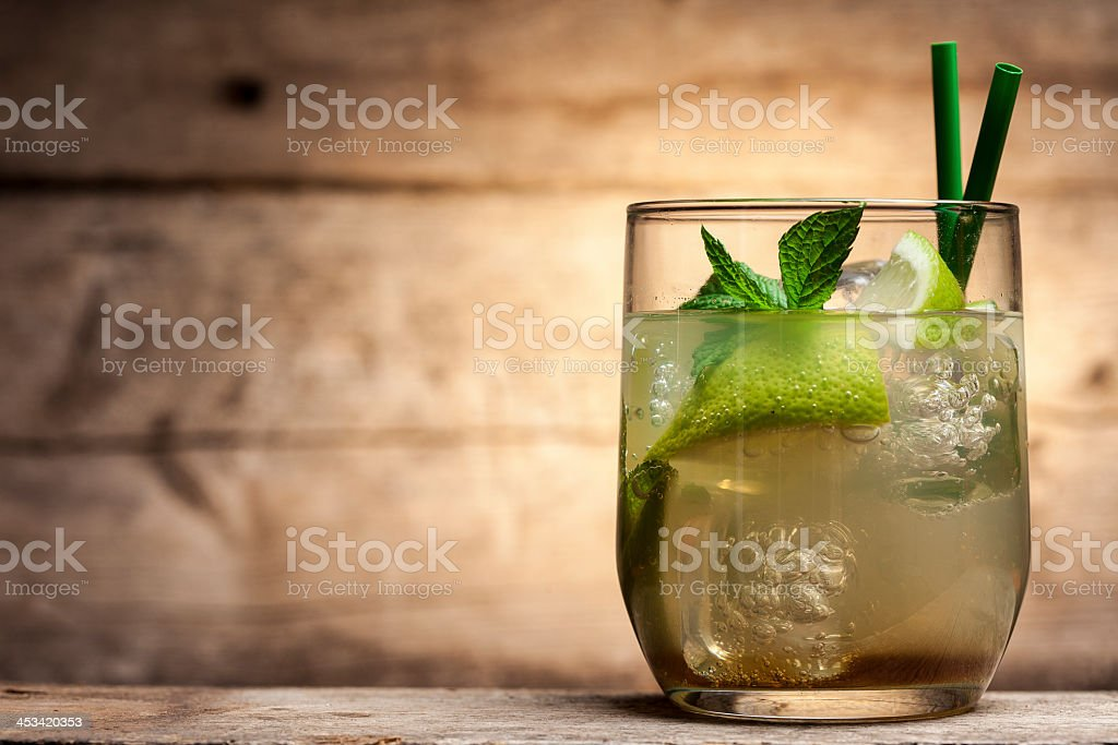 Glass filled with a cocktail drink stock photo