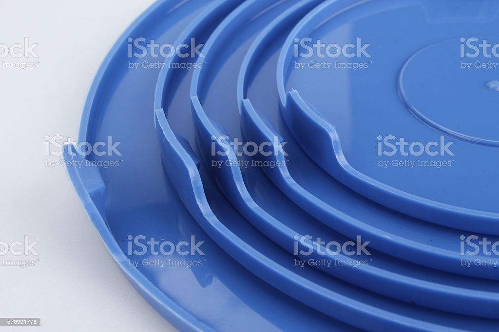 glass food container with blue plastic lid isolated on white stock photo