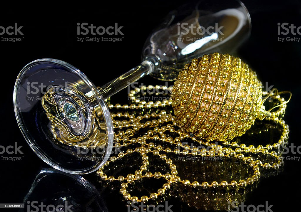 glass for champagne and christmas ball royalty-free stock photo