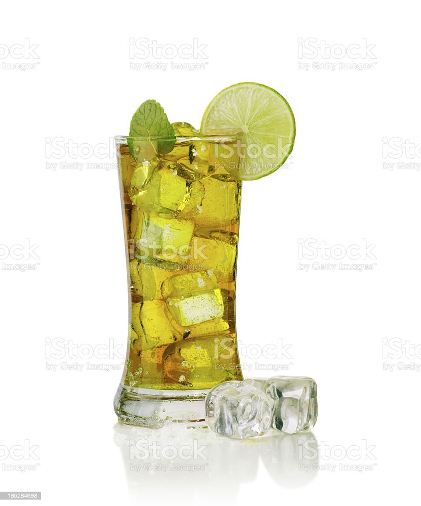 Glass full of ice tea stock photo