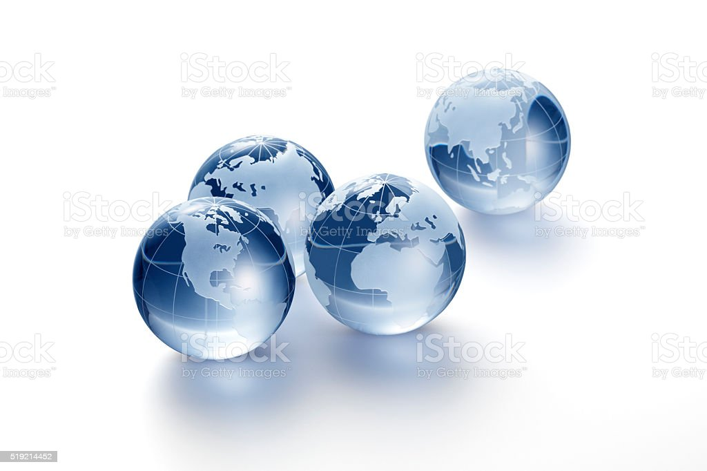 Glass globe on white background stock photo