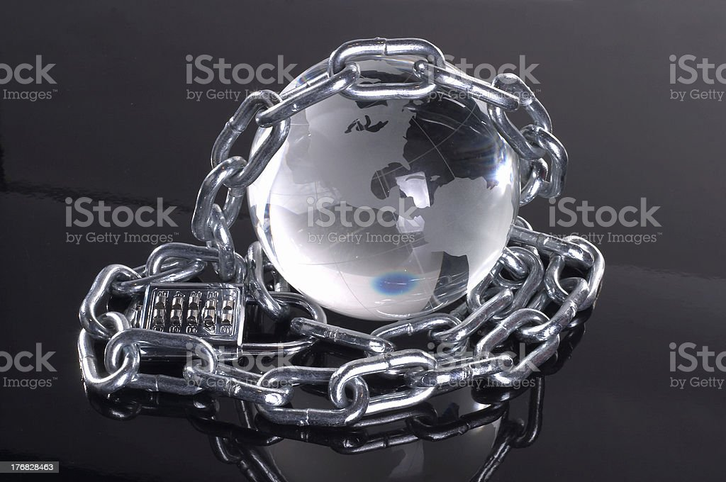 glass globe with chains royalty-free stock photo