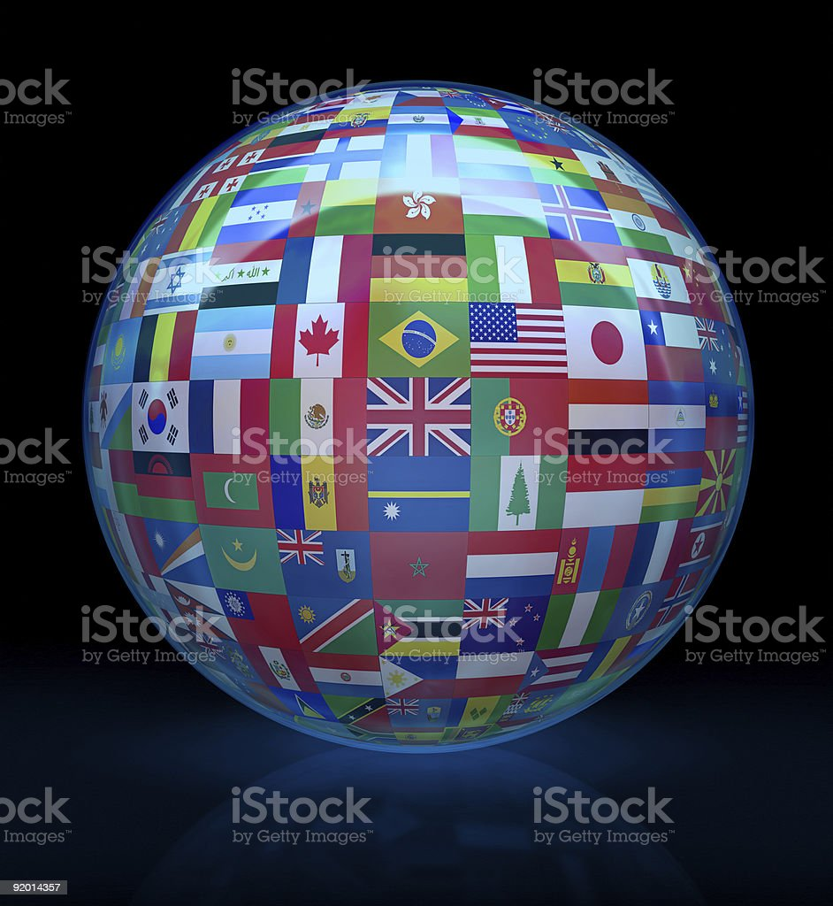 Glass globe with flags of the world stock photo