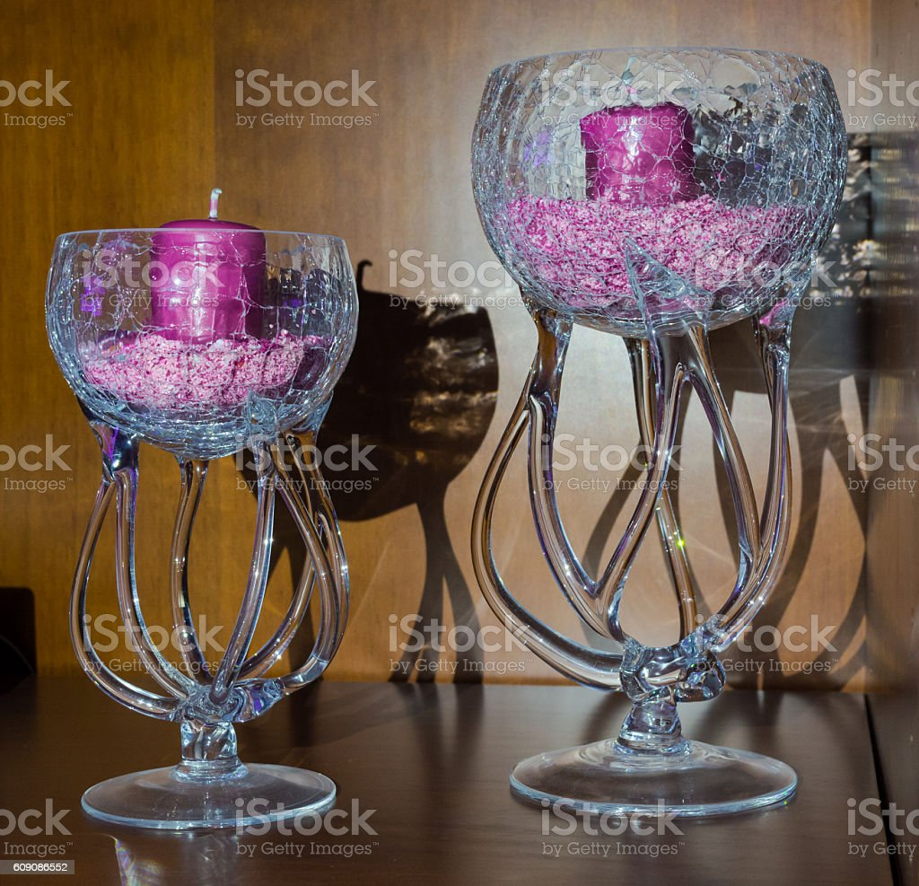 glass goblets with candles stock photo