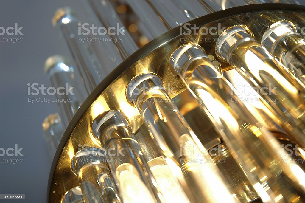 Glass golden Pipe Light Lamp Equipment royalty-free stock photo