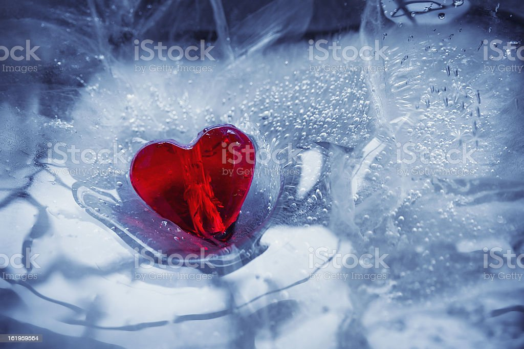 Glass heart and ice royalty-free stock photo