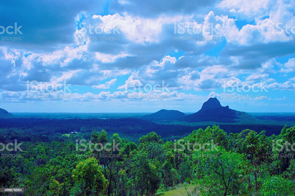 Glass House Mountains In Queensland, Australia stock photo