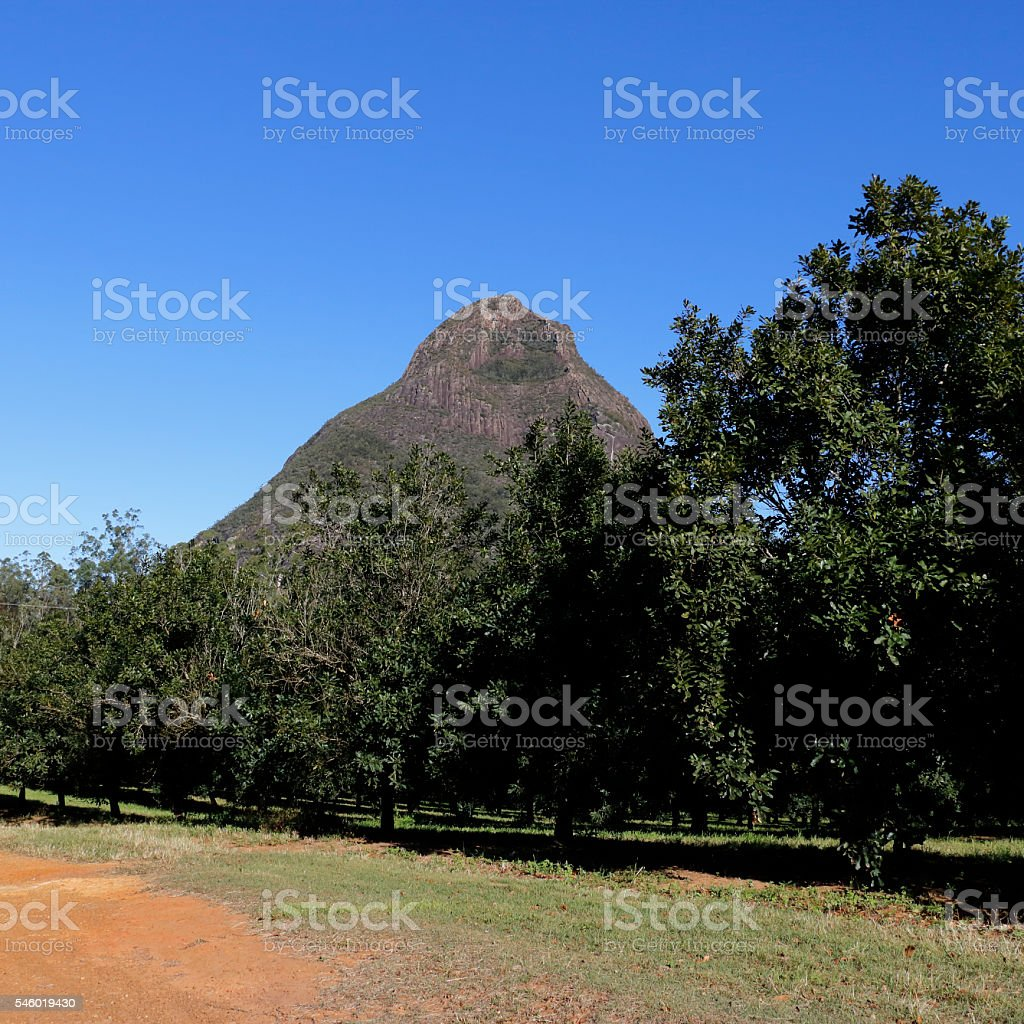 Glass House Mountains Mount Beerwah stock photo