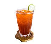 Glass ice lemon tea antique drink