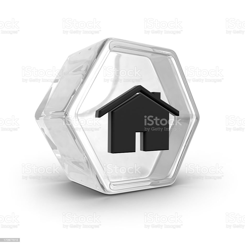 Glass Icon - House stock photo