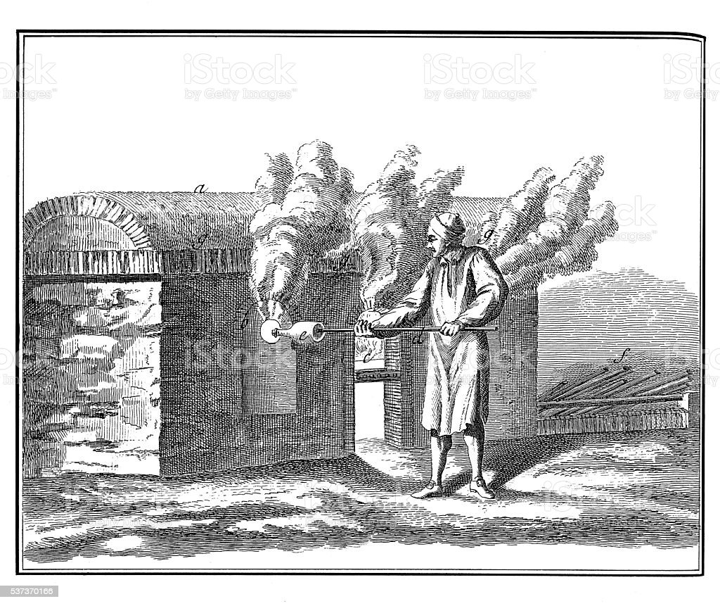 Glass Industry: Bottle making (18th century engraving) stock photo