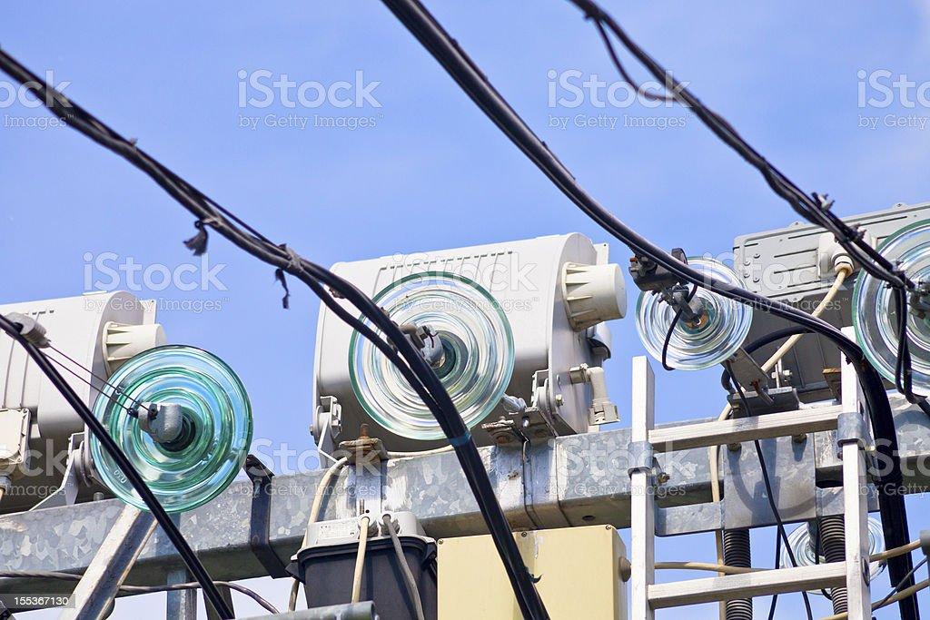 glass isolators of electric line stock photo