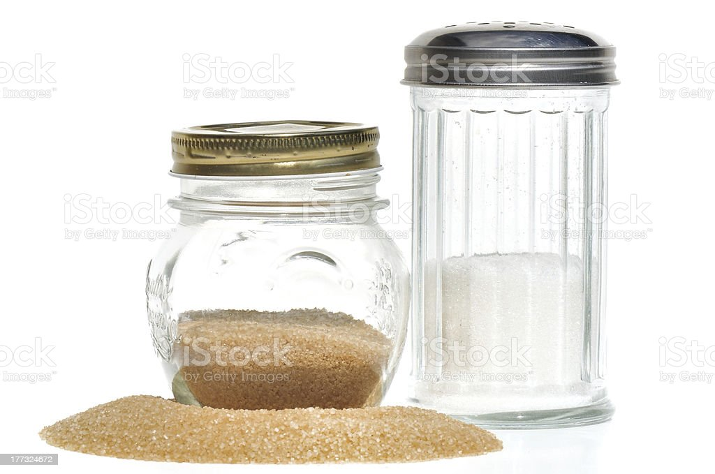 glass jar  for brown sugar and white stock photo