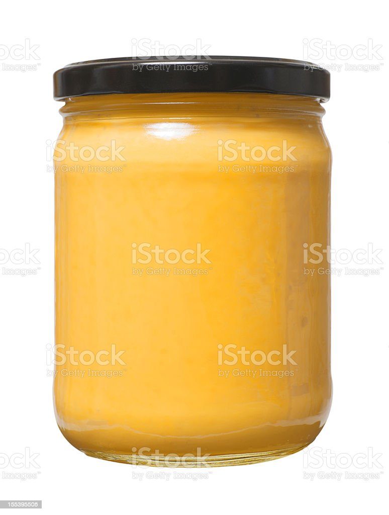 Glass Jar of Cheese Dip stock photo