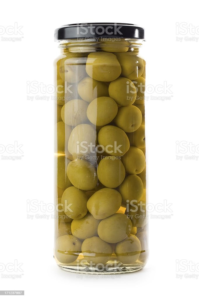 Glass jar of green olives isolated on a white background stock photo