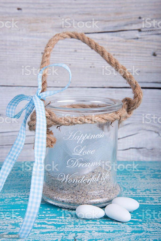 Glass jar wedding favor christening stock photo
