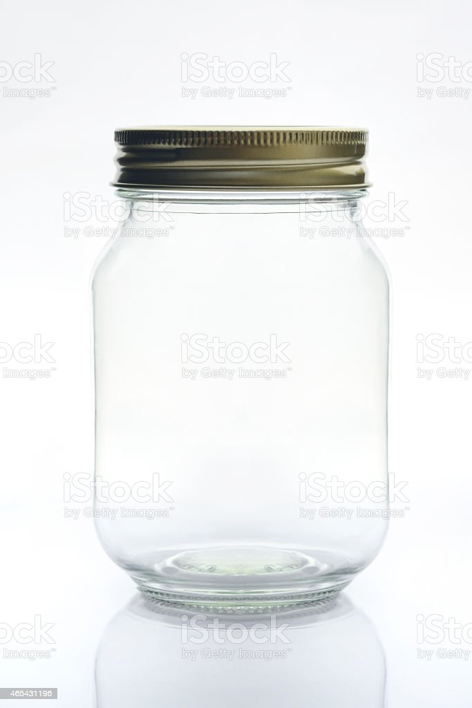 Glass Jar with Metal Lid Isolated on White Background stock photo