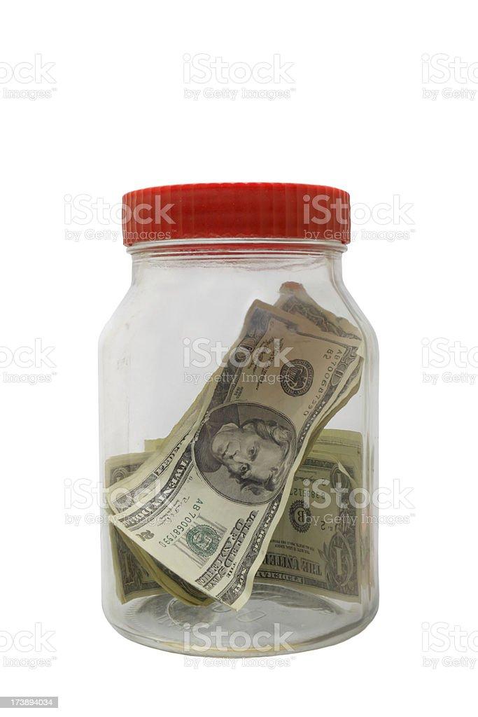 glass jar with money - cash savings royalty-free stock photo