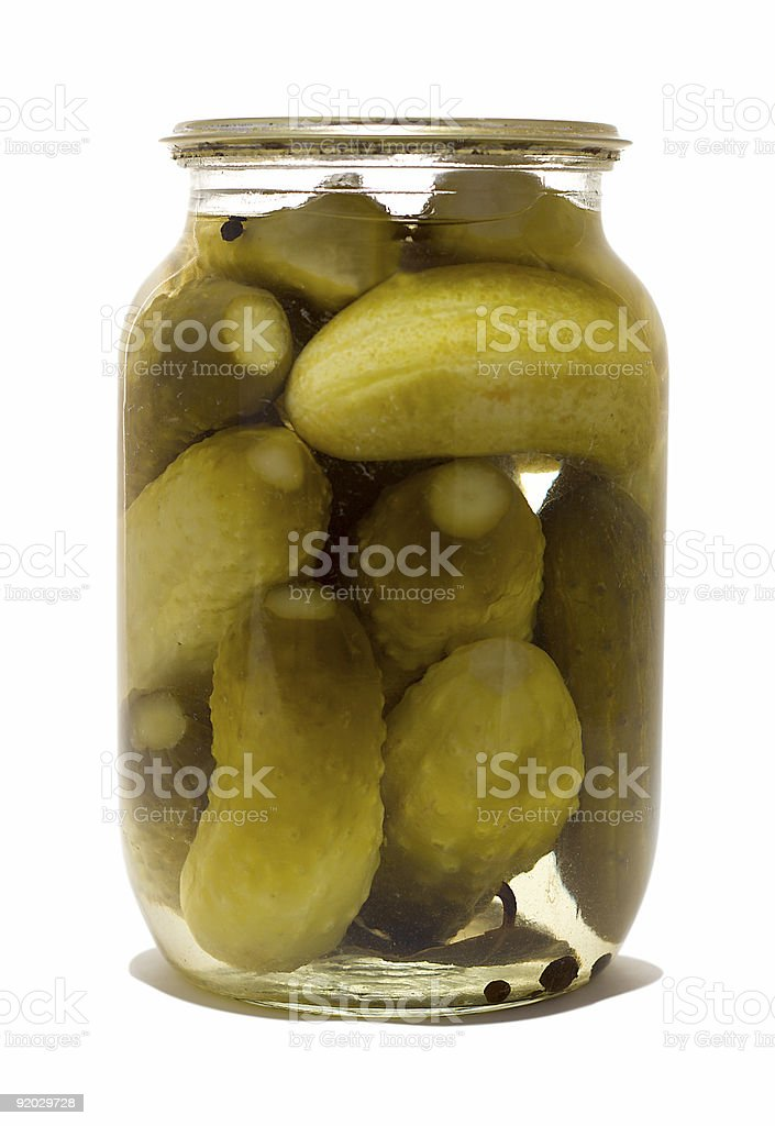 glass jar with preserved cucumbers royalty-free stock photo