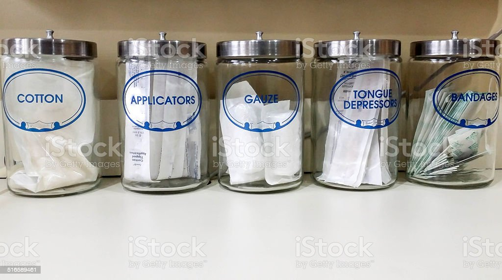 Glass Jars at Doctor's Office stock photo