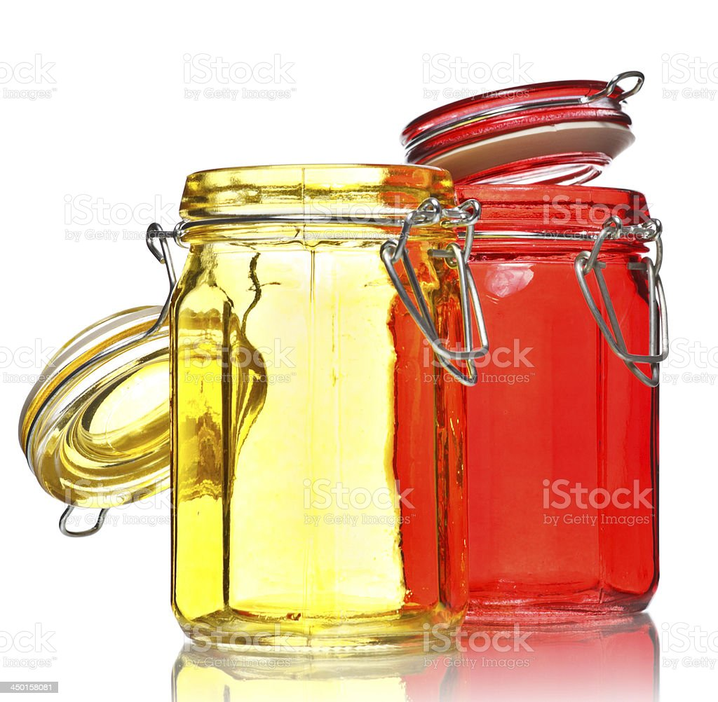 Glass Jars for Spice royalty-free stock photo