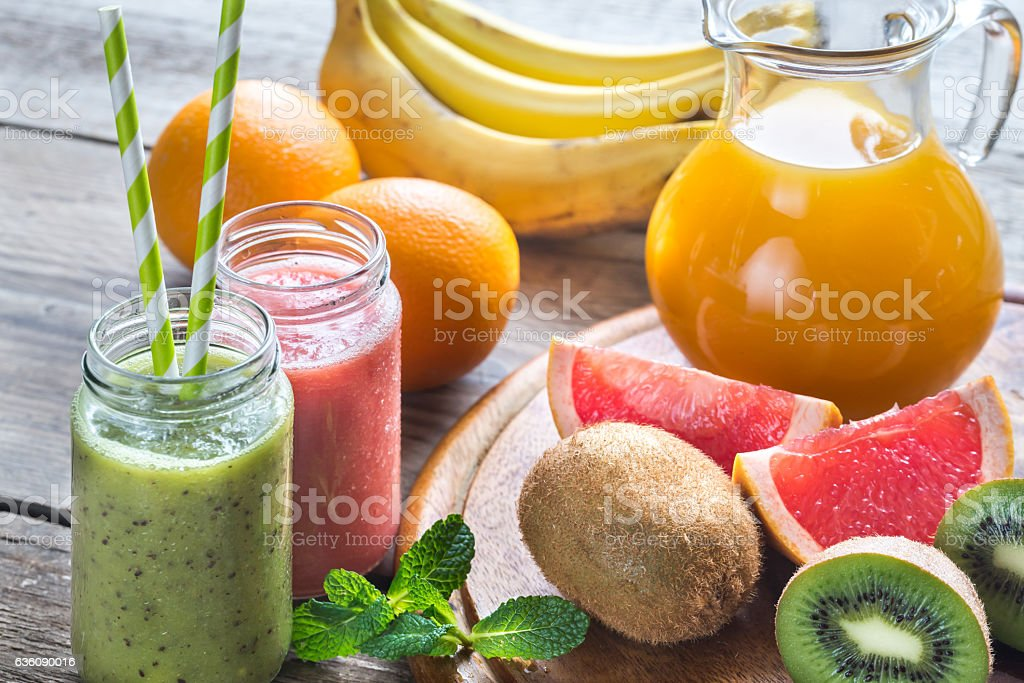 Glass jars of fruit  smoothies stock photo