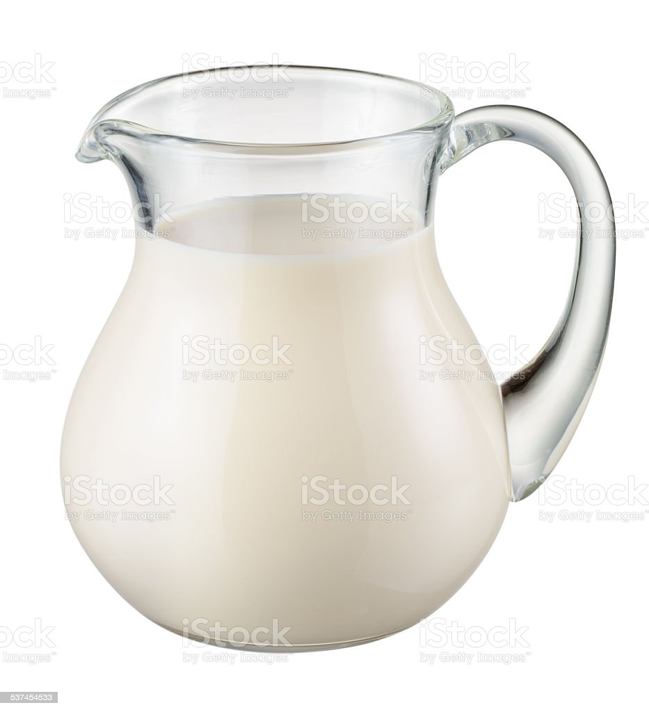 Glass jug of fresh milk isolated. With clipping path stock photo